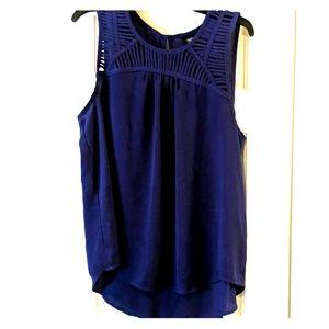 Purple sleeveless blouse high/low lattice top
